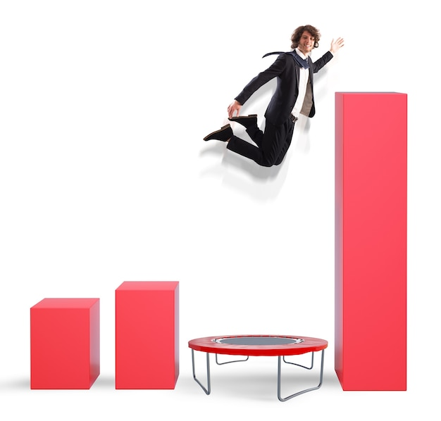より良い統計にジャンプするビジネスマン