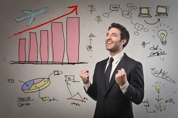 成功について考えるビジネスマン