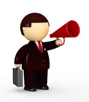 Businessman tlking into a megaphone