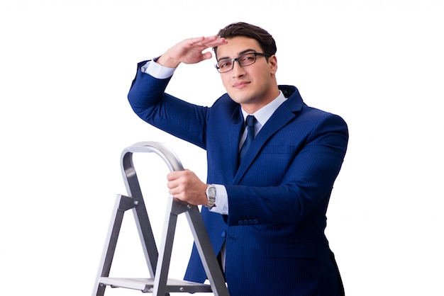 Businessman at top of ladder isolated