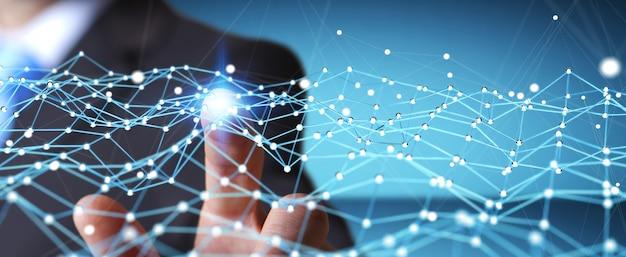 Businessman touching flying network dot