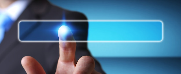 Businessman touching modern tactile screen button