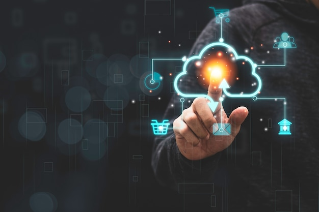 Businessman touching virtual cloud computing with icon to transfer data