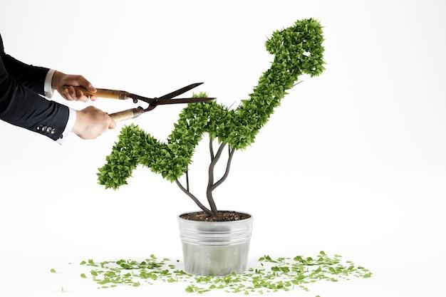 ビジネスマンは矢のように成長する植物をトリミングします。 3dレンダリング