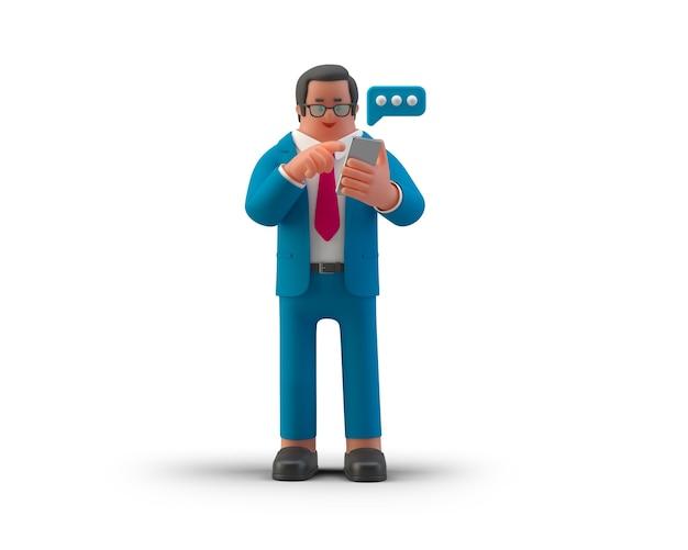 Бизнесмен, набрав сообщение на смартфоне мобильного телефона, изолированные на белом фоне 3d иллюстрация