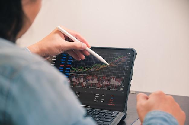 Бизнесмен использует планшет для анализа графика форекс с индикатором для заказа на продажу или покупку, торговля акциями делает выборочный фокус прибыли под рукой.