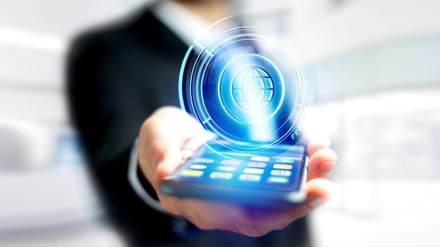 Бизнесмен с помощью смартфона с технологичной глобус shinny кнопки