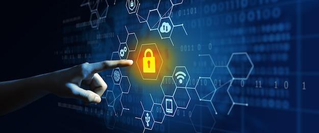 Бизнесмен, использующий кибербезопасность конфиденциальность информации, конфиденциальность и защита данных