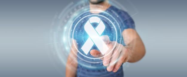 Businessman using digital ribbon cancer interface, 3d rendering