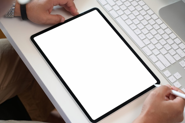 Businessman using digital tablet blank screen display