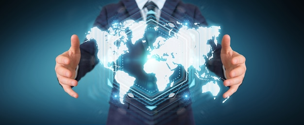 Businessman using digital world map interface