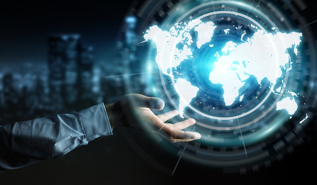 デジタル世界地図インターフェースを使用してビジネスマン