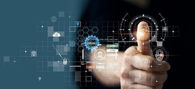 Uomo d'affari che utilizza l'identificazione delle impronte digitali per accedere ai dati finanziari personali ekyc biometrics