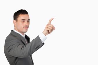 ビジネスマン、目に見えない、タッチスクリーン、白、背景