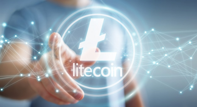 Businessman using litecoins cryptocurrency