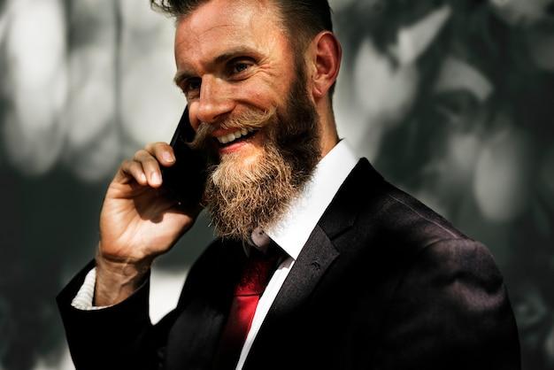 Businessman using mobile phone communication technology