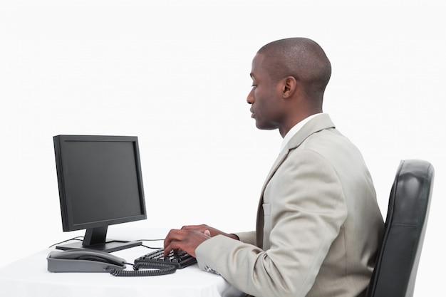 Businessman using a monitor