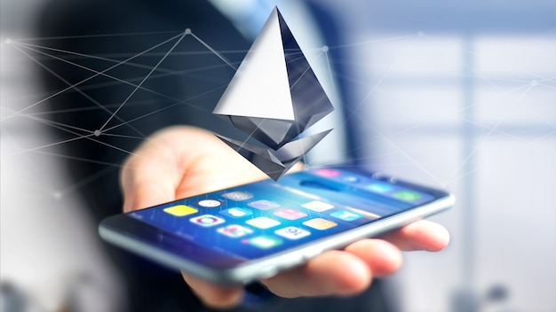 Businessman using a smartphone with a ethereum cryptocurrency sign flying around a network connection