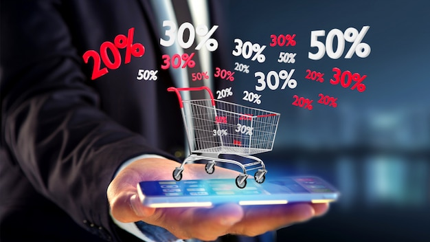 Businessman using a smartphone with a red and white trolley and sales discount - 3d render