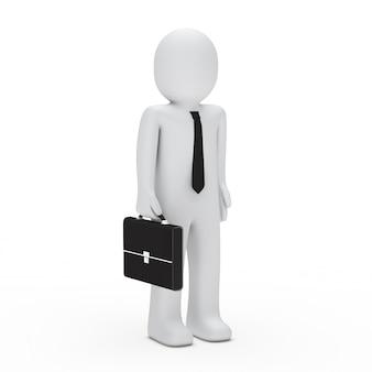 Бизнесмен ждет со своим портфелем