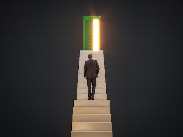Businessman walking up on stairs to the door of opportunity for career development