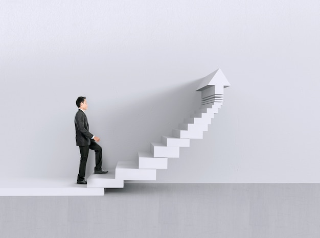 Businessman walking upstairs. growth chart concept