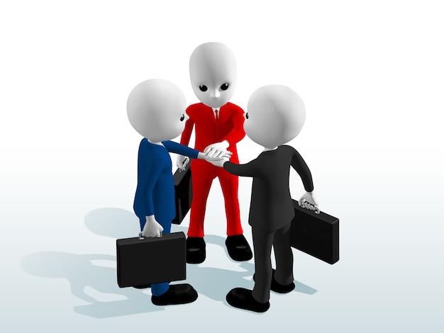 계약 3d를 만들기 위해 손을 잡고 가방을 들고 양복 빨간색 파란색 회색을 입고 사업가