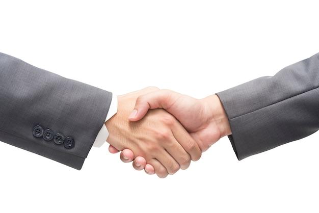 ビジネスマン、黒、スーツ、ビジネス、握手、隔離された、背景
