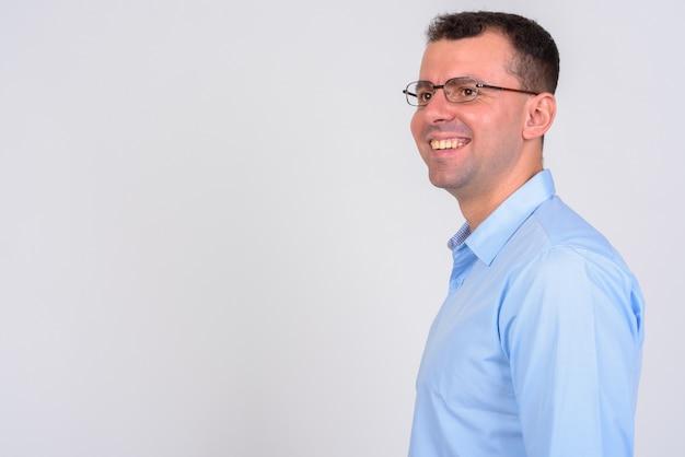 Businessman wearing eyeglasses on white