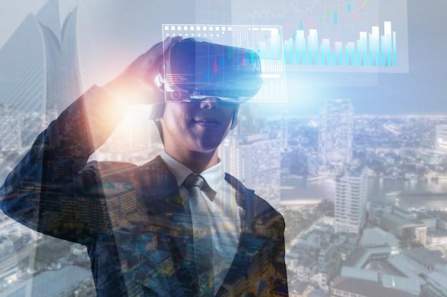 Businessman wearing glasses of virtual reality