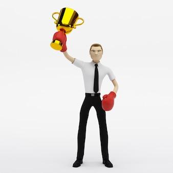 Бизнесмен победитель с трофеем