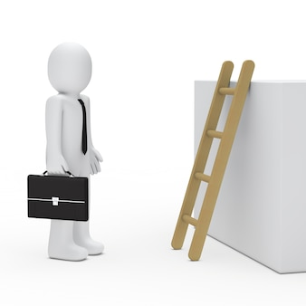 Бизнесмен с портфелем рядом с лестницей