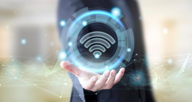 Бизнесмен с цифровым значком wi-fi