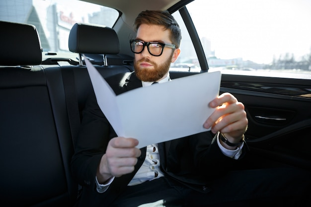 Businessman with documents driving on car back seat