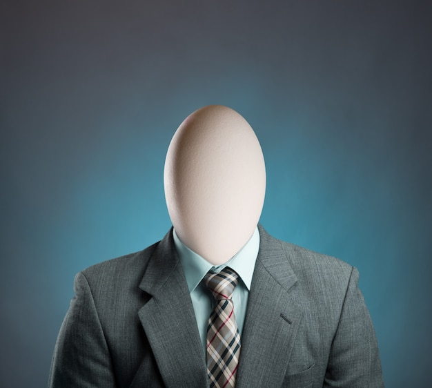 Businessman with egg istead of head
