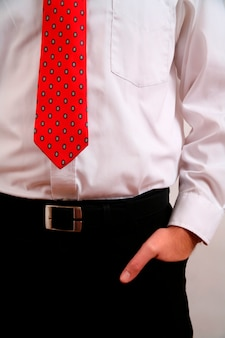 Businessman with hands in pockets, midsection