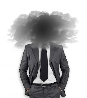 Businessman with head in the clouds