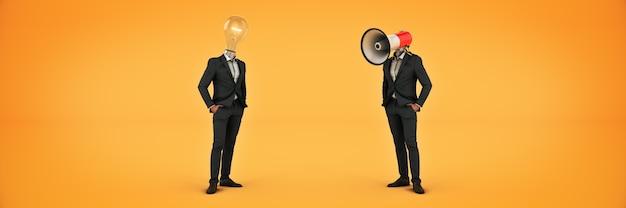 電球の頭とメガホンの頭の3dレンダリングを持つビジネスマン