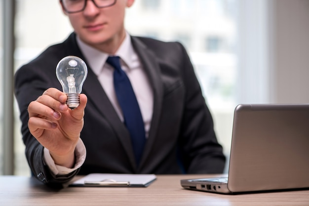 Businessman with light bulb in idea concept