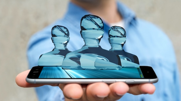Businessman with shiny glass avatar group over phone 3d rendering