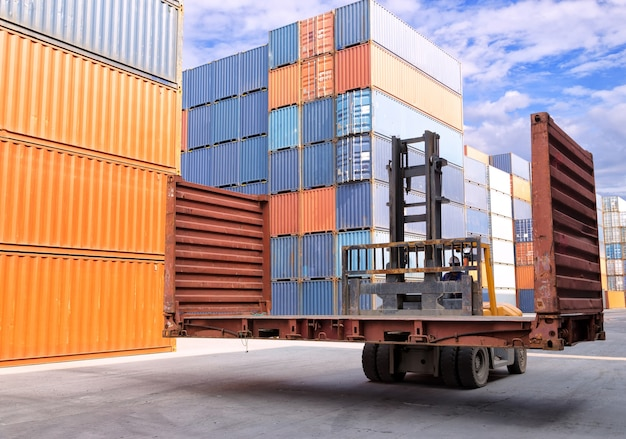 Businessman with supply chain management logistics