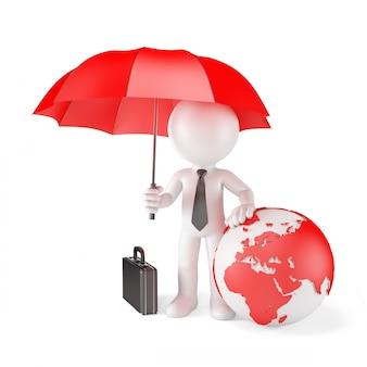 Бизнесмен с зонтиком и земной шар. концепция глобальной защиты