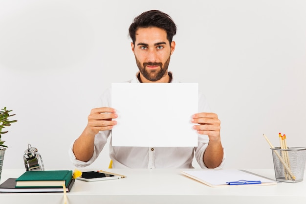 Businessman with white paper