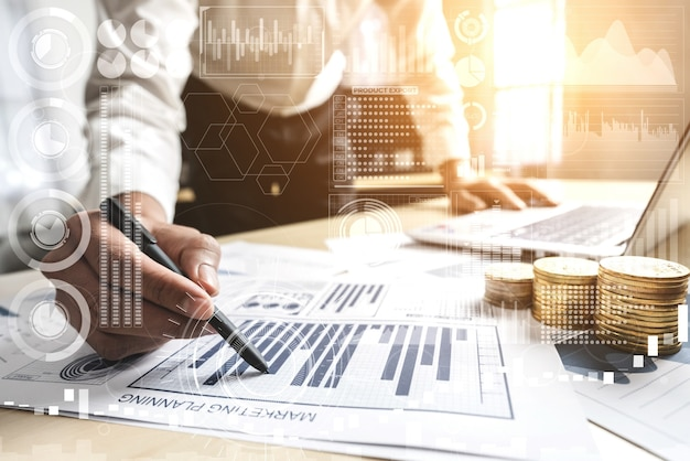 Businessman working on business data