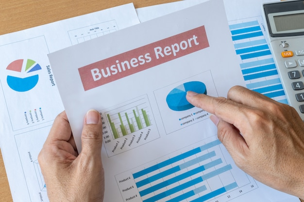 Businessman working data document business report. research development planning management concept