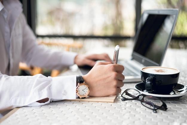 Businessman working on desk office business