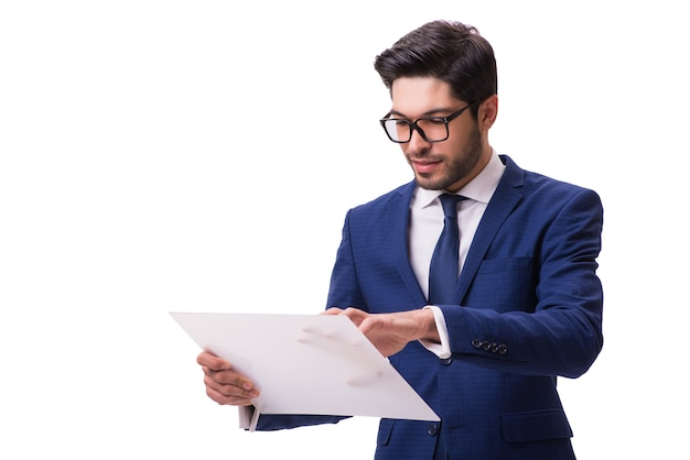 Businessman working on tablet isolated