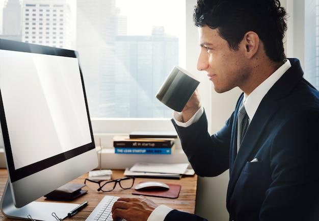 Businessman working using computer information concept