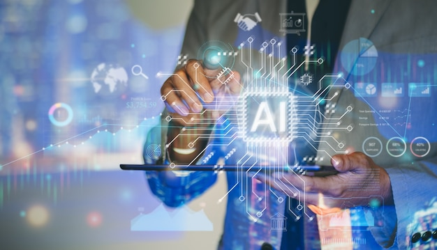 Businessman working with digital marketing analysis ai to invest concept of future business