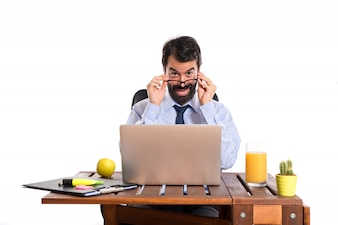 Businessman working with his laptot